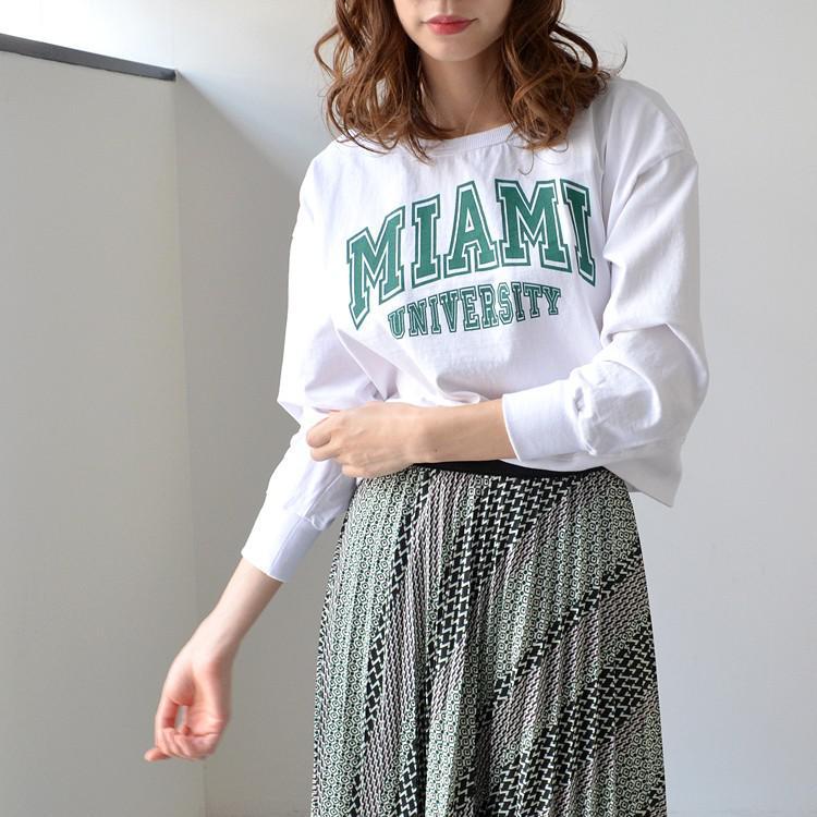 コットン MIAMI ロゴ プリント スウェット カットソー