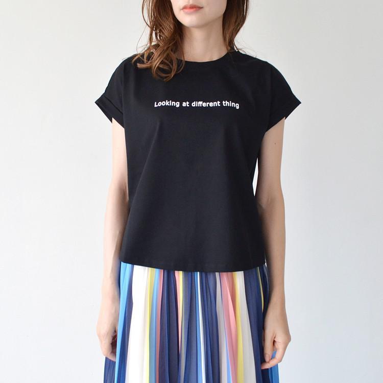 コットン ロゴ プリント フレンチスリーブ Tシャツ カットソー