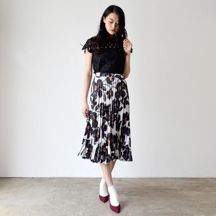 花柄 プリーツ ウエストゴム ミモレ丈 スカート