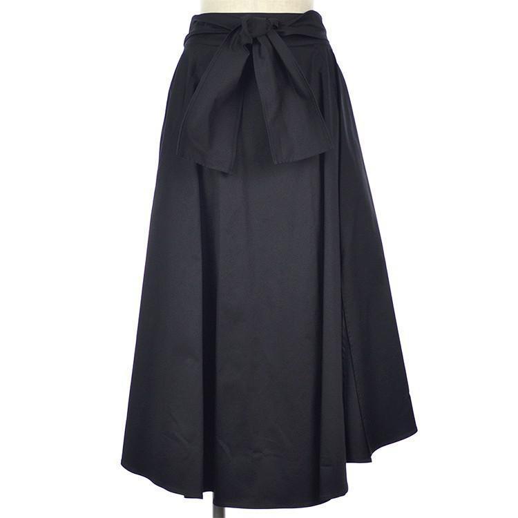 ウエストリボン サイドスリット ボリューム フレア スカート