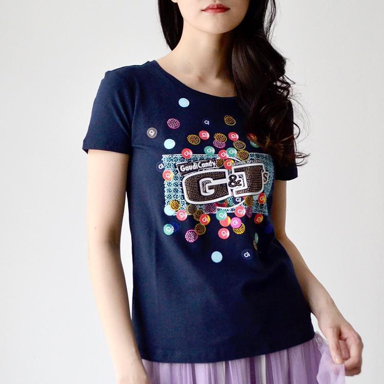 ストーン 装飾 パロディ プリント Tシャツ カットソー