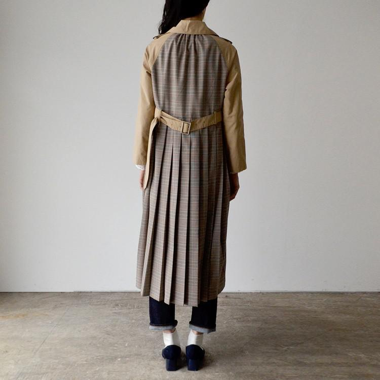 バックプリーツ チェック柄 ロング トレンチ コート