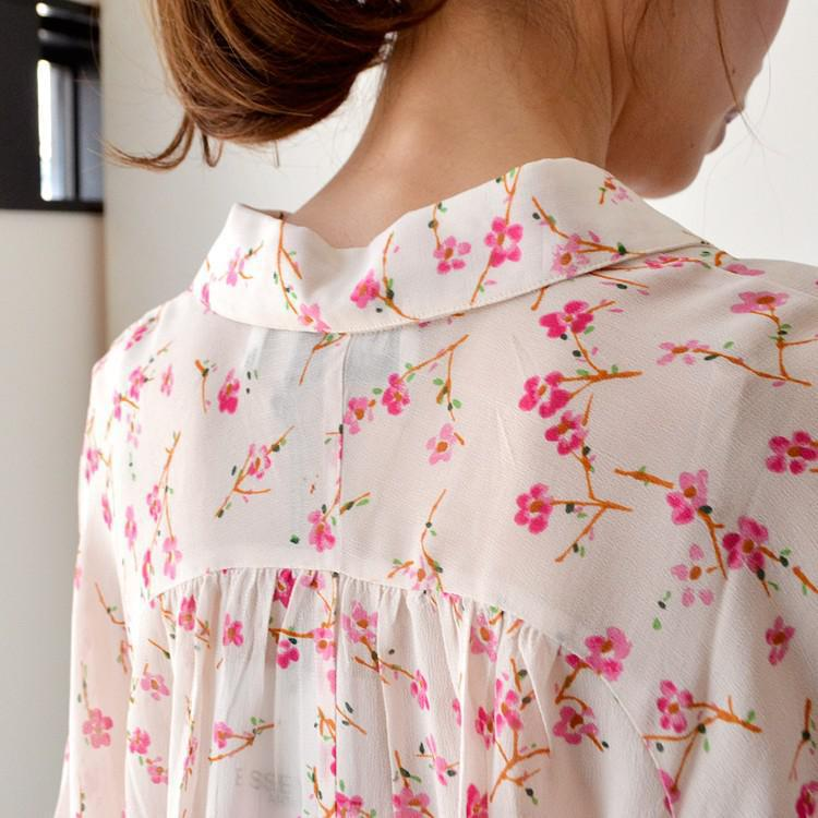 レーヨン 小花柄 シースルー シャツ ブラウス