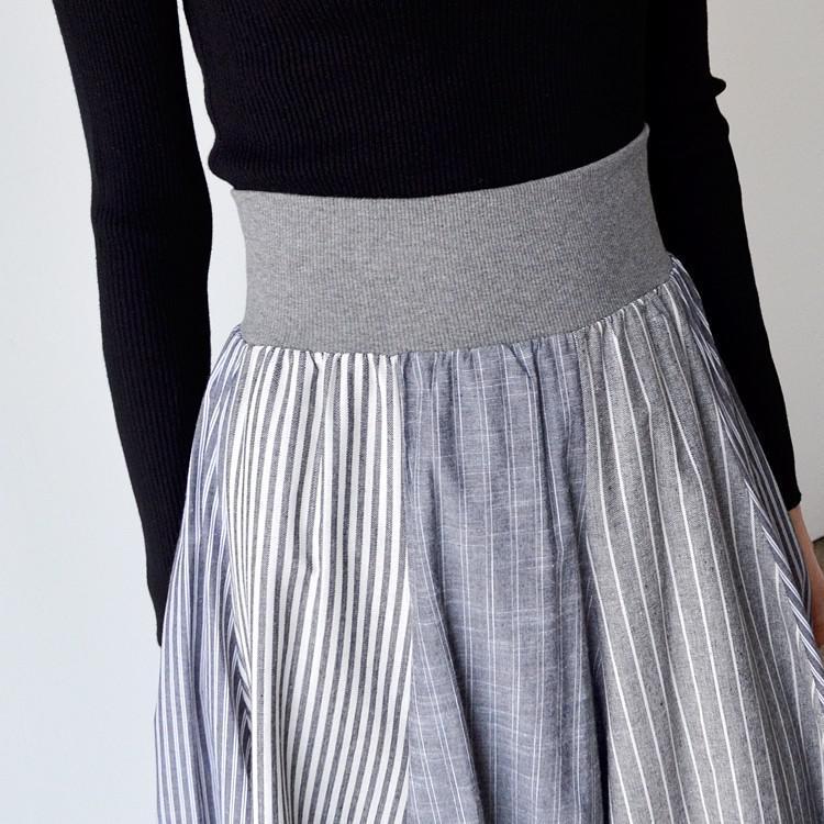 ストライプ 綿 麻 切替 リブ ウエストゴム Aライン フレア スカート