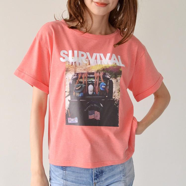SURVIVAL プリント オーバー Tシャツ カットソー