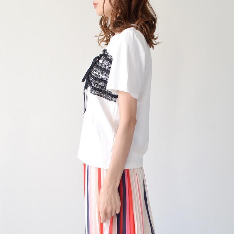 コットン レース ビスチェ風 レイヤード Tシャツ カットソー