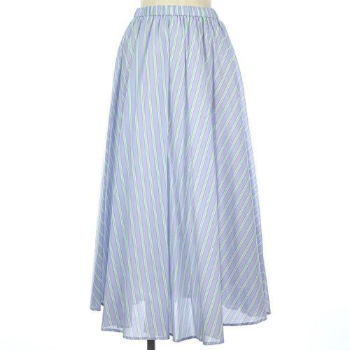 ストライプ パステル ウエストゴム ギャザー フレア ロング スカート