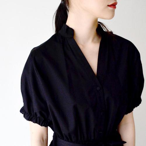 ウエストリボン 半袖 シャツ ワンピース