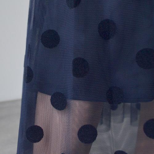 ドット柄 チュール レイヤード ウエストゴム フレア スカート