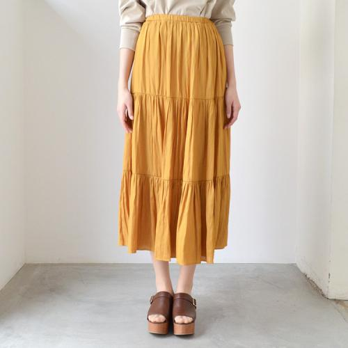 サテン ティアード ウエストゴム フレア ロング スカート